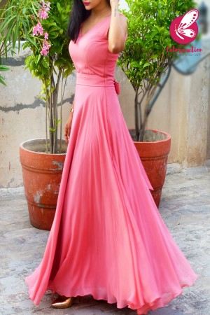Pink Double Flair Padded Long Dress