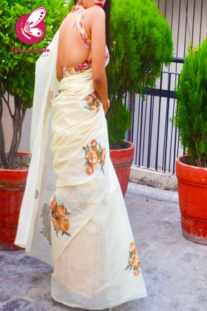 Light Yellow Applique Organdy Floral Saree