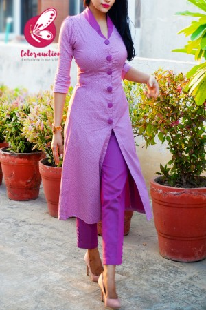 Mauve Purple Cotton Silk Prined Kurti with Two Tone Mauve Purple Cotton Silk Pants