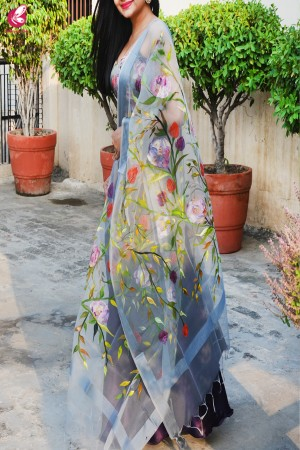 Grey Organza Hand painted Multicolored Floral Stole