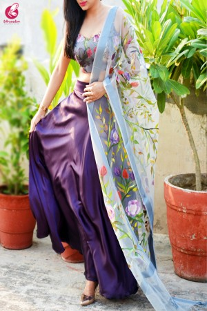Multicolored  Satin Lehenga With Hand Painted Organza Stole
