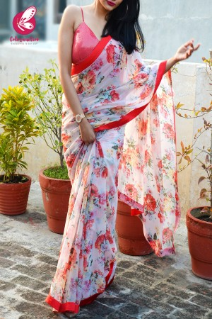Light Pink Printed Chiffon Satin Taping Saree