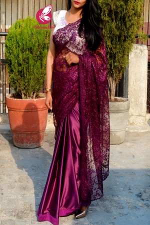 Wine Pure Satin Embroidered Net Half and Half Saree