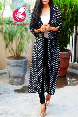Black Georgette Polka Dots Printed Quarter Sleeves Long Shrug