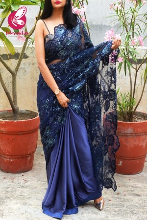 Blue Embroidered Half & Half Satin Net Saree