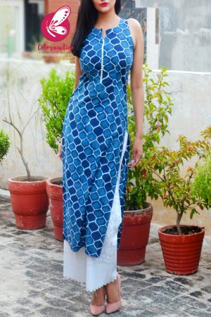 Indigo Blue Pure Cotton Kurti with White Cotton Full Lining Chikankari Palazzo