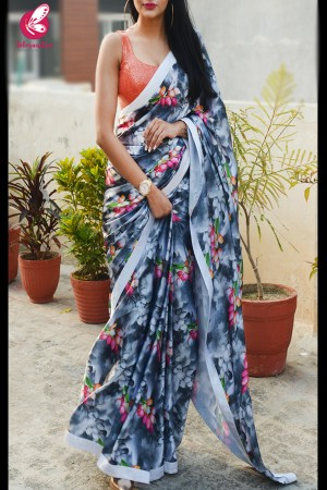 Printed Multicolored Satin Saree