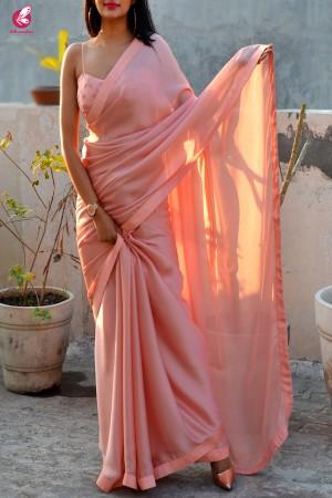 Peach Silk Georgette Dupion Silk Taping Saree
