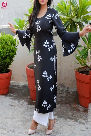 Black & White Printed Pure Silk Kurti with Lakhnawi Cotton Full Lining Palazzo