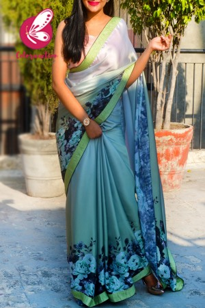 Olive Green Printed Satin Dupion Taping  Black Piping Saree