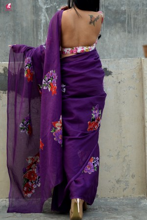 Purple  Organdy Applique Floral Saree