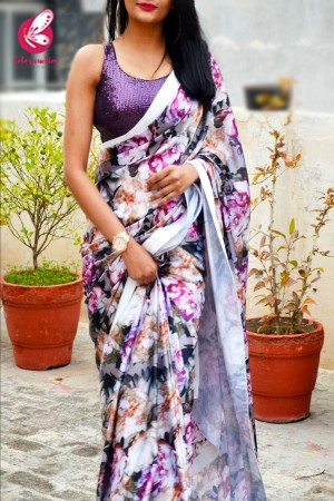Multicolored Printed Floral Satin White Satin Taping Saree