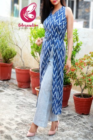 Indigo Blue Cambric Cotton Kurti with Blue and White Cambric Cotton Palazzo Kurti Set