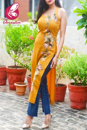 Mustard Golden Cotton Silk Sleeveless Patch Work Kurti