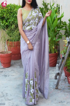 Lavender Grey Pure Silk Floral Ribbon Handwork Saree