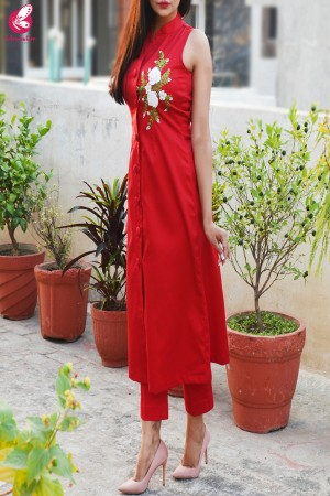 Red Ribbon Handwork Cotton Silk Kurti with Red Cotton Silk Pants