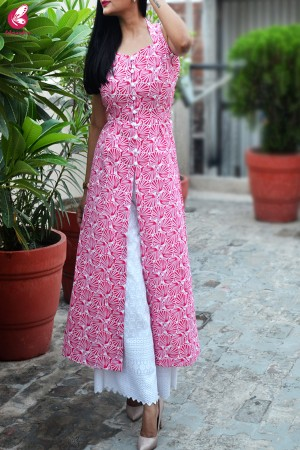 Red & White Printed Suede Velvet Cotton Kurti with Front Slit