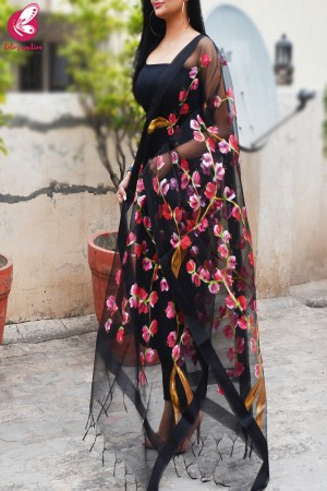 Black Organza Red Hand painted Stole