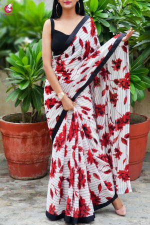 Red & Black Satin Taping Georgette Saree