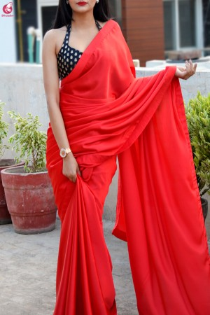 Red Satin Dupion Silk Taping Saree