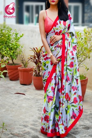 Red & Grey Printed Satin Red Dupion Taping Saree