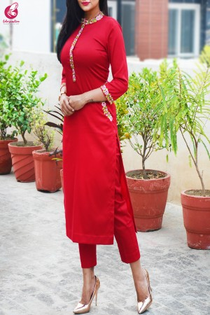 Red Cotton Silk Embroidered Kurti Set