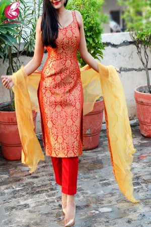 Red Golden Brocade Padded Kurti with Red Cotton Silk Pants and Golden Organza Ruffle Dupatta