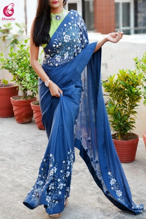 Blue Pure Silk Chiffon Sequins Pearl Handwork Saree