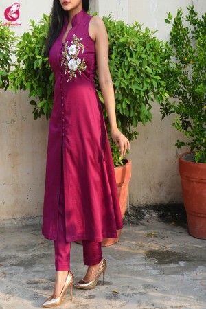 Wine Ribbon Handwork Cotton Silk Kurti with Wine Cotton Silk Pants
