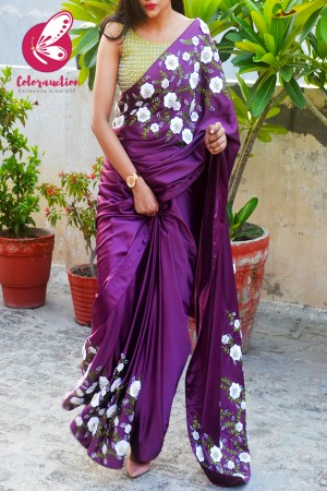 Plum Pure Satin Floral Ribbon Handwork Saree