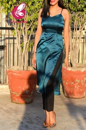 Teal Blue Satin Kurti with Black Cotton Silk Pants Kurti Set