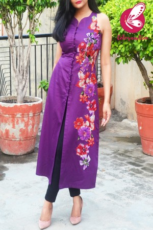 Purple Cotton Silk Sleeveless Patch Work Kurti