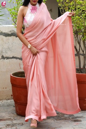 Rose Pink Silk Georgette Dupion Silk Saree
