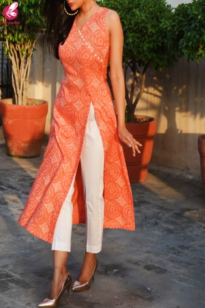 Orange & White Printed Modal Rayon Kurti with White Cotton Silk Pants