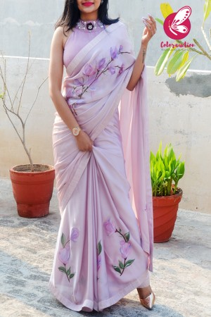 Mauve Pink Hand-painted Silk Georgette Saree