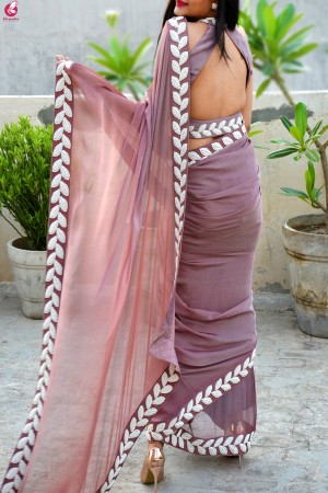 Mauve Pearl Work Silk Chiffon Saree