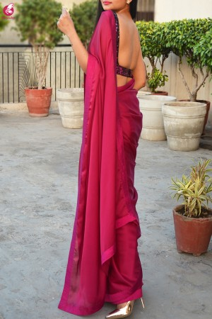 Garnet Silk Georgette Dupion Silk Taping Saree