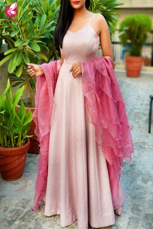 Baby Pink Pure Crepe Shimmer Padded Gown with Dark Pink Pure Organza Ruffle Stole