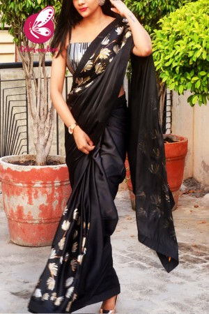 Black Satin Floral Handpainted Saree