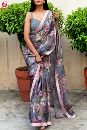 Grey Digital Print Satin Georgette Saree