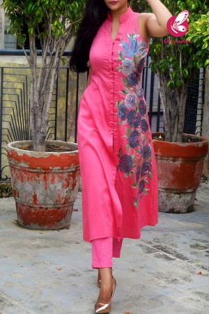Carrot Pink Cotton Silk Handpainted Kurti with Carrot Pink Cotton Silk Pants