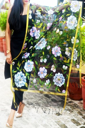 Black Pure Organza Handpainted Colorful Floral Stole