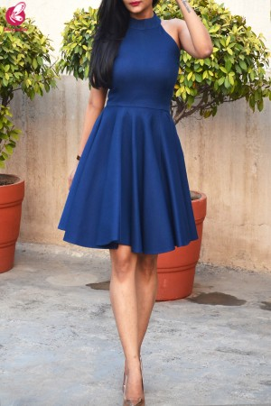 Blue Turtle Neck Padded Sleeveless Short Dress