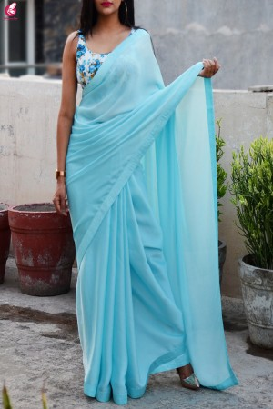 Pastel Sky Blue Silk Georgette Taping Saree