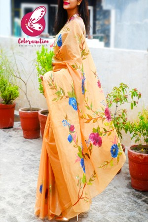 Multicoloured Hand-painted Floral Organdy Saree