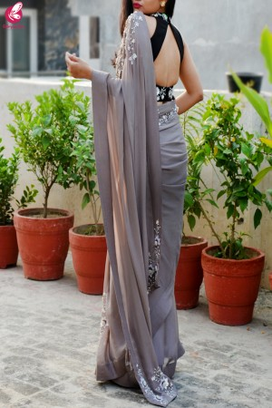 Mauve Grey Pure Silk Chiffon Sequins Pearl Handwork saree