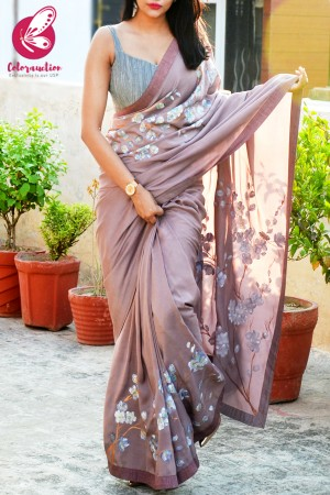 Mauve Hand-painted Viscose Crepe Floral Saree