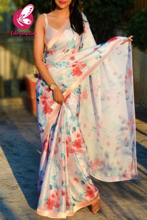 Multicolored Printed Satin Georgette Peach Satin Taping Saree