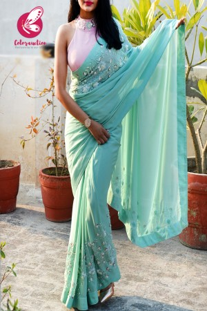 Mint Green Pure Silk Chiffon Sequins Pearl Handwork Saree