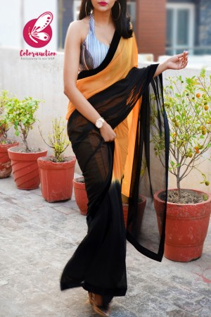 Mustard Orange and Black Double Shaded Georgette Velvet Taping Saree
